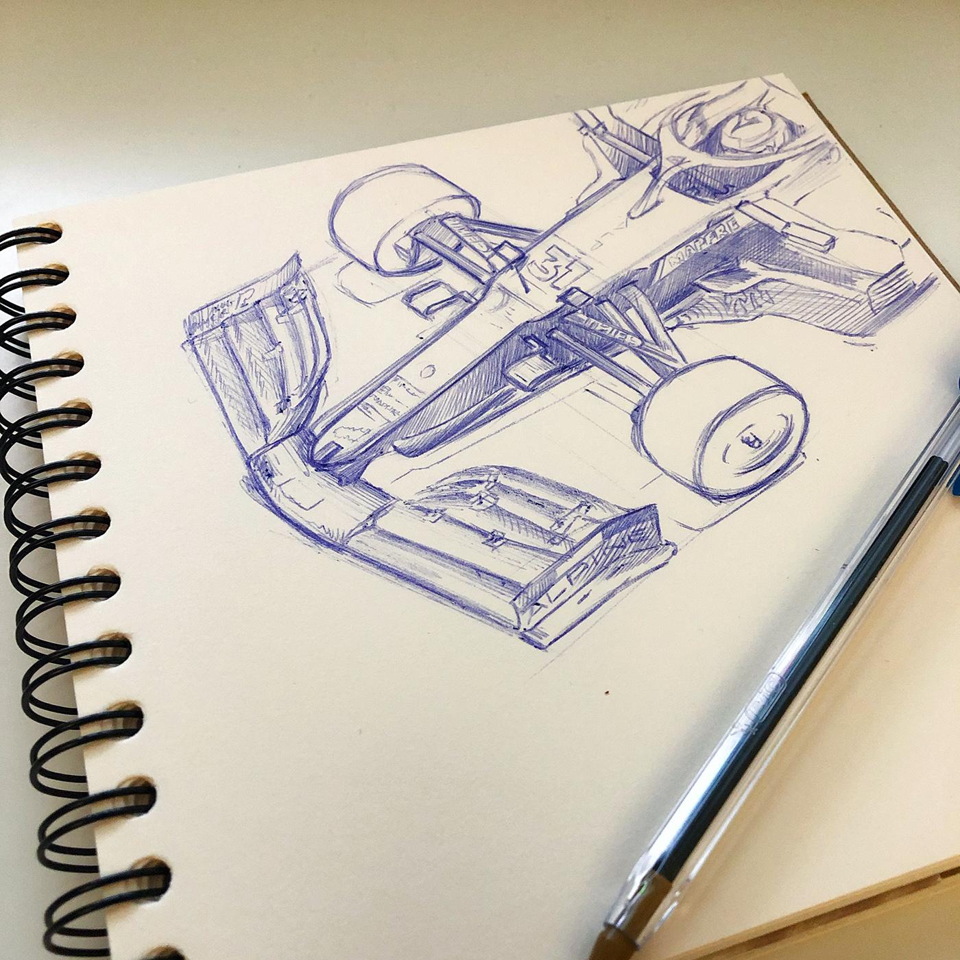 F1 Sketch Ocon